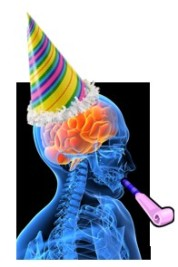 Brain with party hat